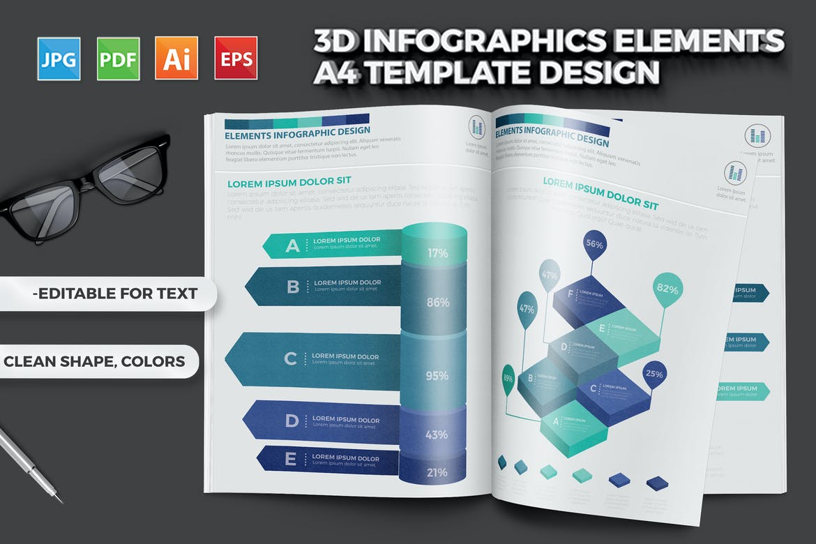 3D Infographics Elements A4 Template Design